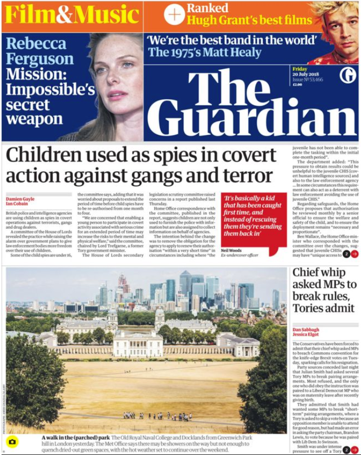 The Guardian 20th July 2018